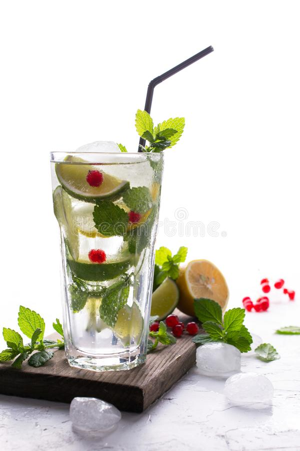 Home made mojito cocktail with lemon, lime, mint leaves, with ice and red currant . Summer drink stock photography