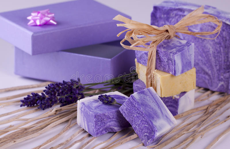 Home made natural soap - handmade. Home made natural violet soap with lavender - handmade royalty free stock image