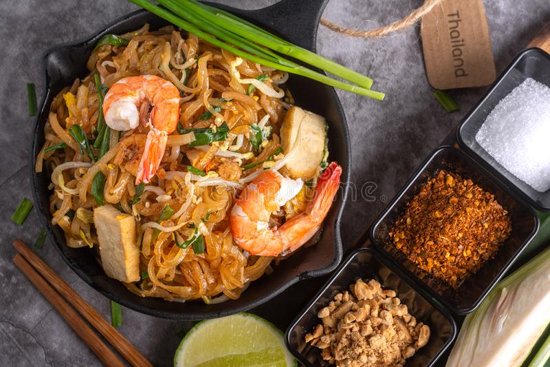 Home Made Pad thai with Shrimp and Vegetables on Marble table stock photography