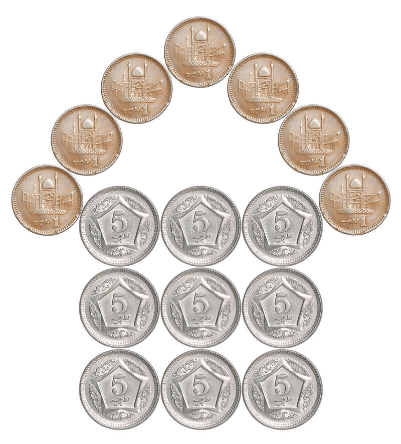Home made from Pakistani coins royalty free stock photo