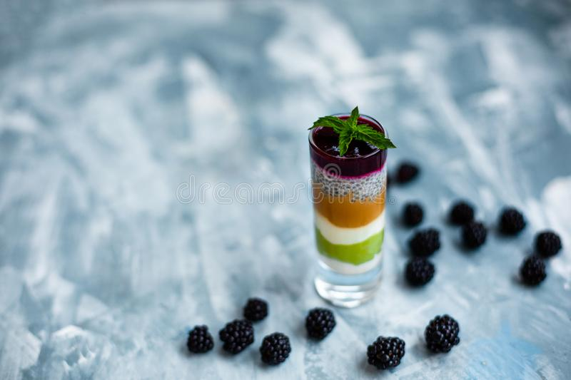 Healthy dessert with chia seeds, matcha, chia seeds, jam and blackberries. Detox and dieting food royalty free stock image