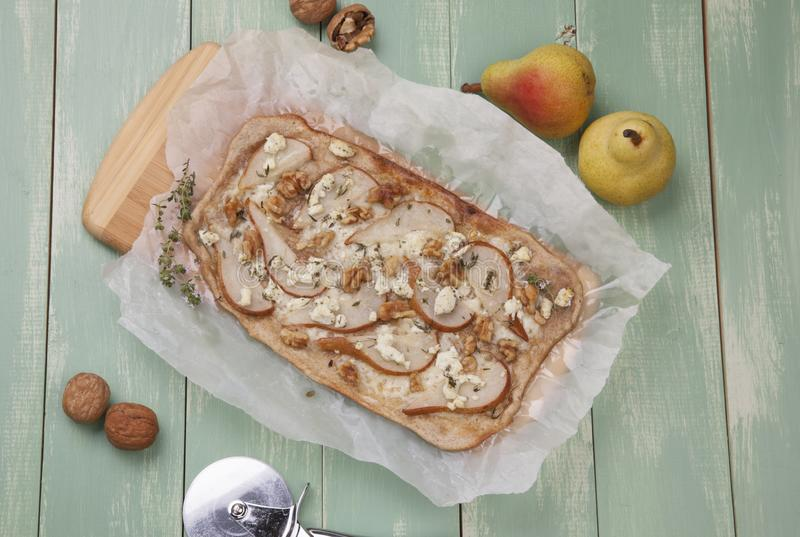 Home Made Pear, Goat Cheese & Walnut Flatbread royalty free stock images