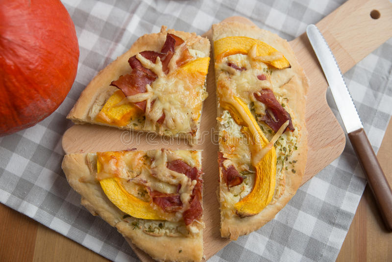 Home made pumpkin pizza royalty free stock image