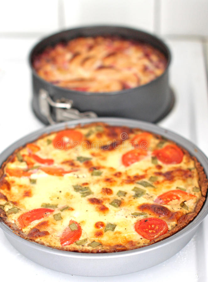 Home made quiche lorraine stock image