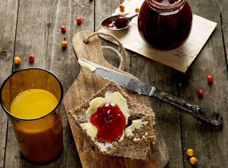 Milk, bread and jam stock photo