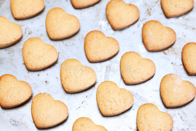 Download Home Made Shortbread Heart Shaped Cookies On Baking Tray Stock Image - Image: 30433941