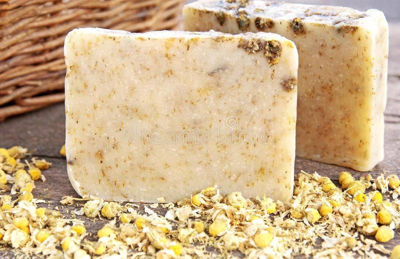 Home-made soap with chamomile royalty free stock image