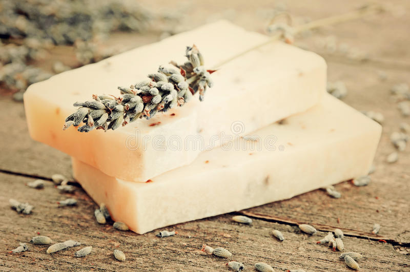 Home-made soap with lavender royalty free stock photos