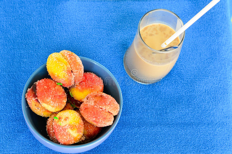 Home made sweet and frappe coffe stock photography