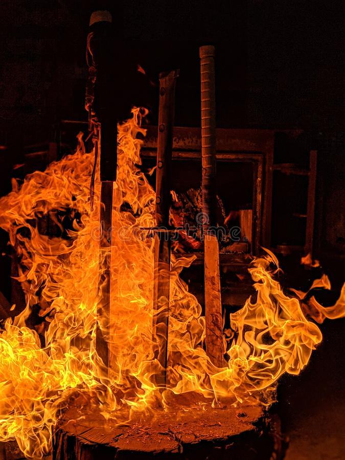 Hot swords. Home made swords , fire ball, cool shot royalty free stock photos
