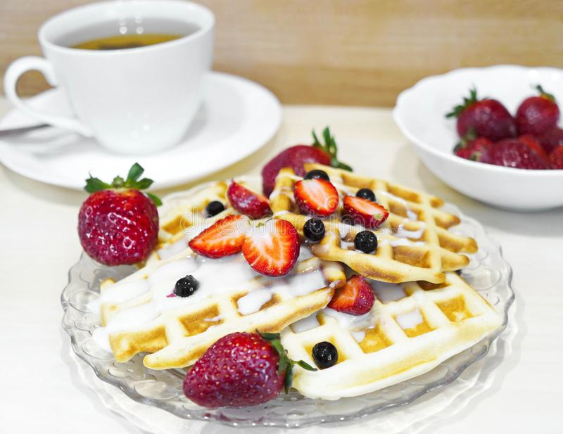 Home-made waffle baking. royalty free stock photography