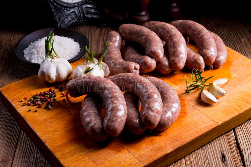 Home-made white sausage out pigs and calf meat stock photos