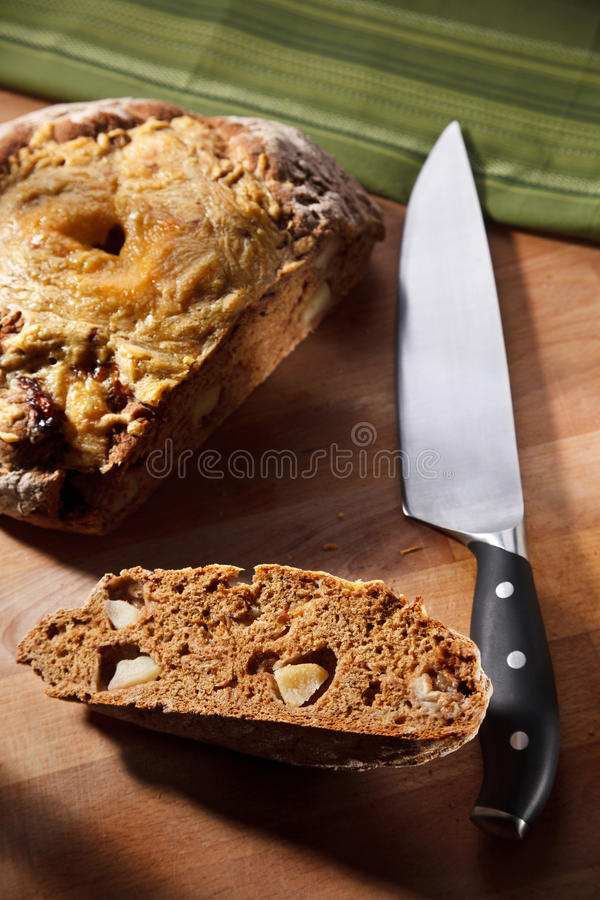 Home Made Whole Grain Bread With Apple And Cheese Stock Photo
