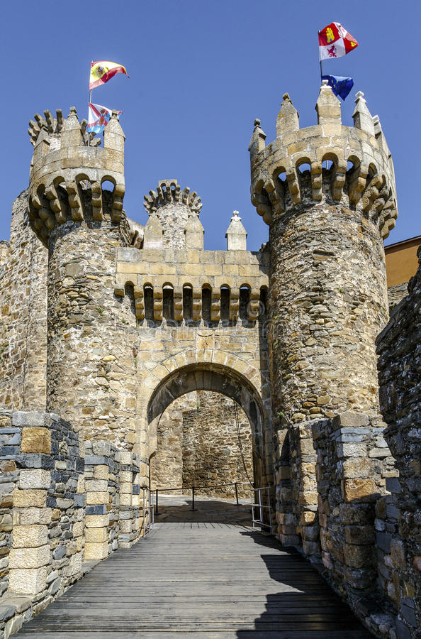 Home or main entrance of Templar castle in Ponferrada, Spain stock photography