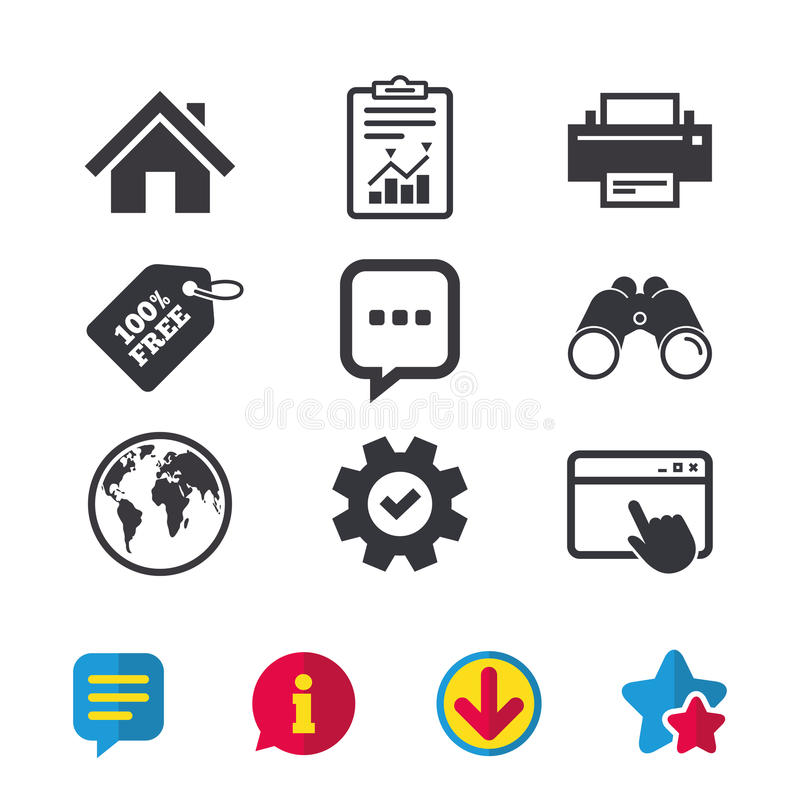 Home main page and globe signs. Printer, chat. Home main page and globe icons. Printer and chat speech bubble with suspension points sign symbols. Browser stock illustration