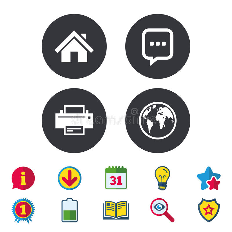 Home main page and globe signs. Printer, chat. Home main page and globe icons. Printer and chat speech bubble with suspension points sign symbols. Calendar royalty free illustration