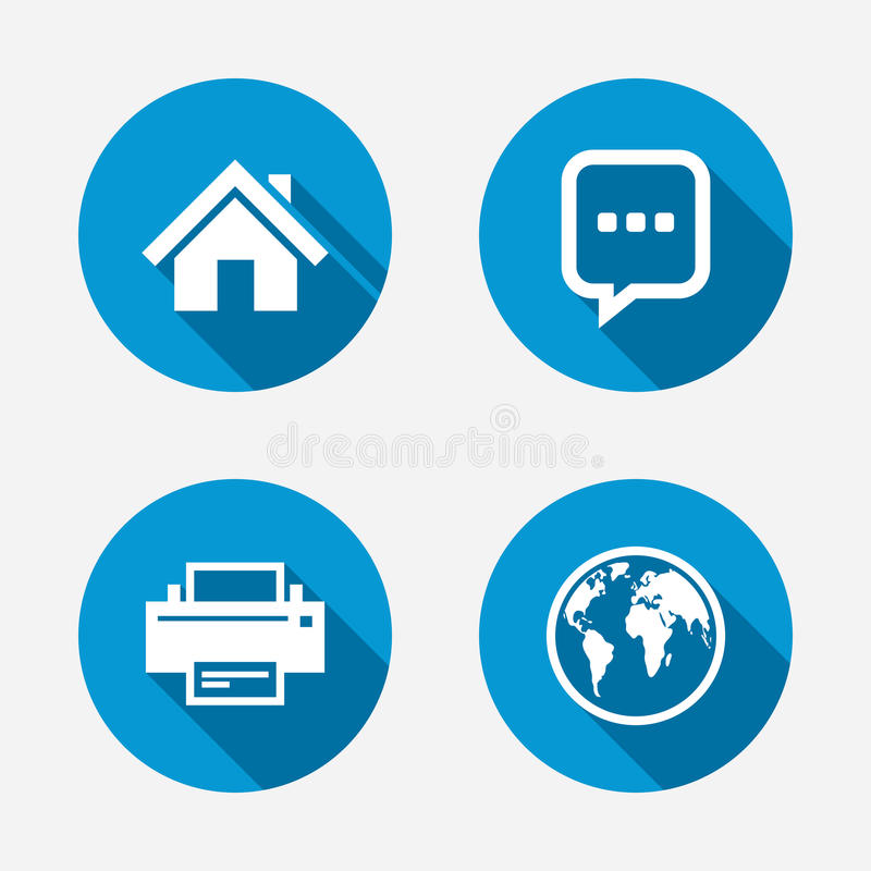 Home main page and globe signs. Printer and chat. Home main page and globe icons. Printer and chat speech bubble with suspension points sign symbols. Circle royalty free illustration