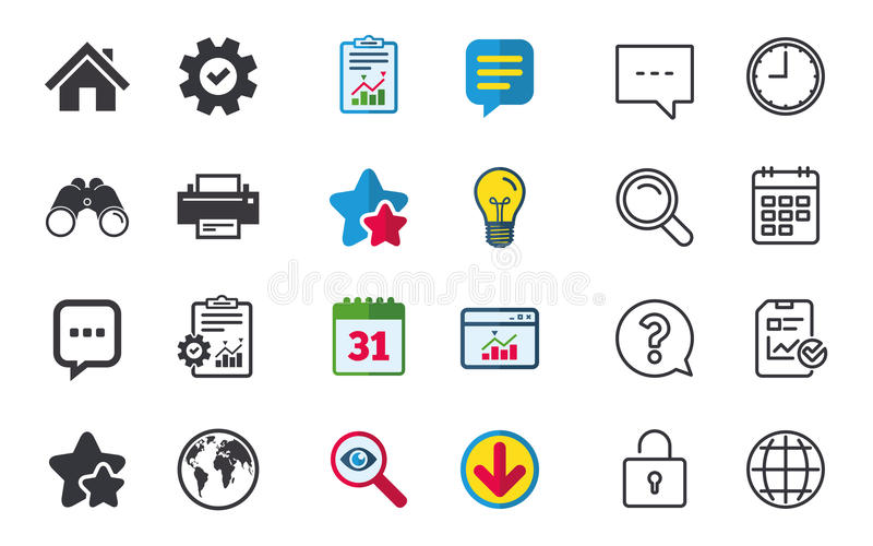 Home main page and globe signs. Printer, chat. Home main page and globe icons. Printer and chat speech bubble with suspension points sign symbols. Chat, Report royalty free illustration