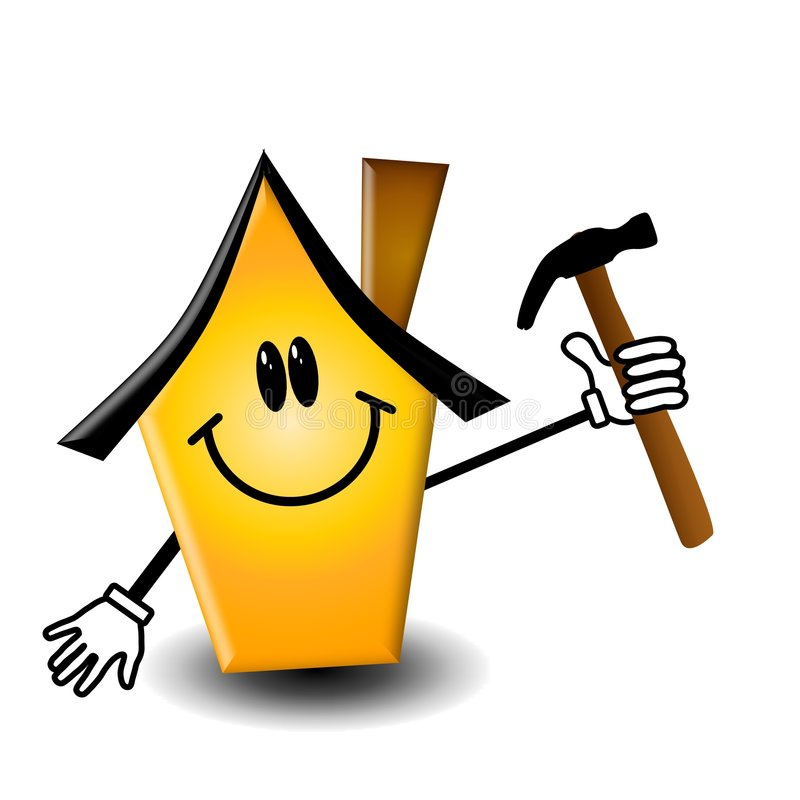 Home Maintenance Cartoon. An illustration featuring a yellow house cartoon holding a hammer to represent home repairs and maintenance