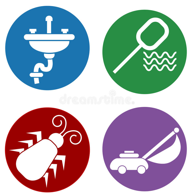 Home Maintenance Icons. An image of home maintenance icons stock illustration