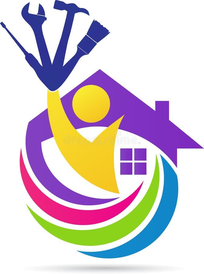 Home maintenance logo. A vector drawing represents home maintenance logo design royalty free illustration