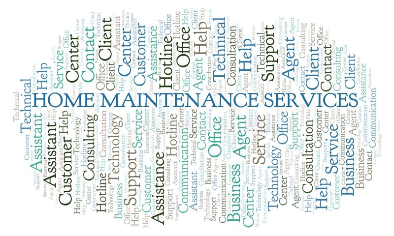 Home Maintenance Services word cloud. Wordcloud made with text only stock illustration