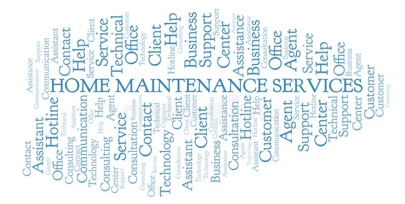 Home Maintenance Services word cloud. Wordcloud made with text only vector illustration