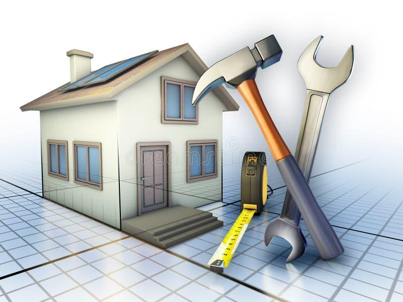 Home maintenance. Some tools used for home maintenance works. Digital illustration vector illustration