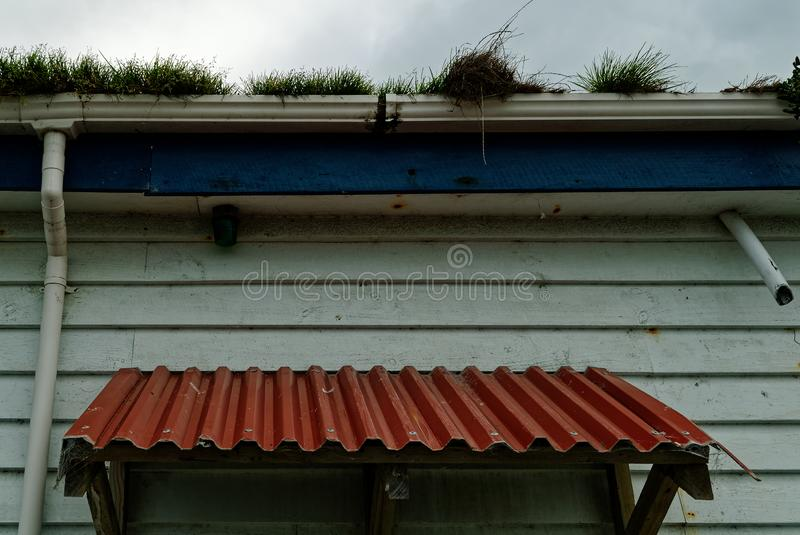 Home maintenance time, a neglected house has grass growing out of its gutters stock photos