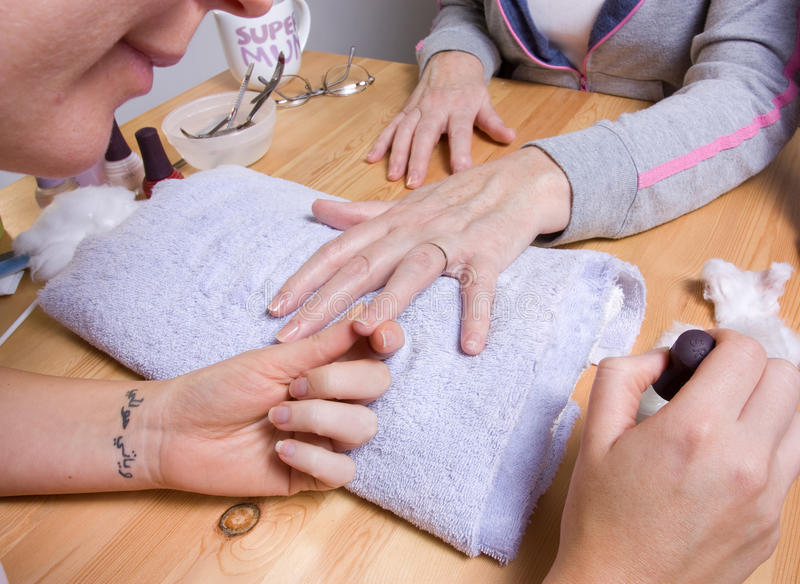 Home Manicure Stock Photography