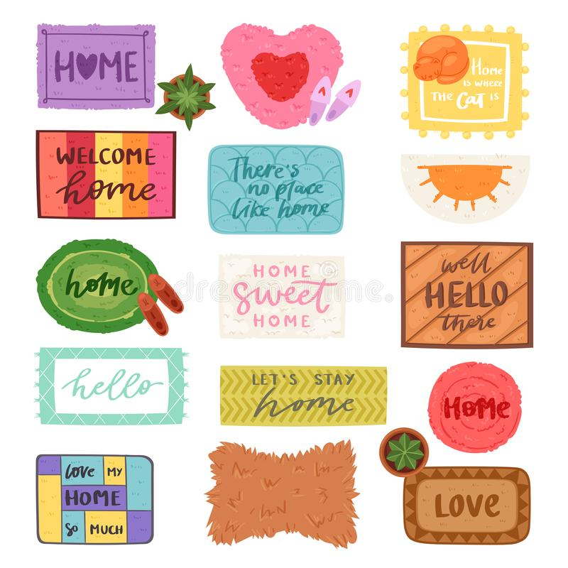 Free Home Mat Vector Welcome Doormat In Front Of House Entrance And Doorway Matting Rug For Visitors Illustration Household Royalty Free Stock Images - 120293919