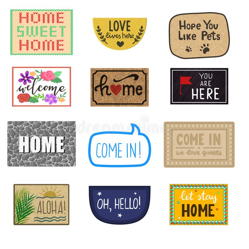 Free Home Mat Vector Welcome Doormat Of Front House Entrance And Doorway Matting Rug For Visitors Illustration Household Set Royalty Free Stock Images - 121410289