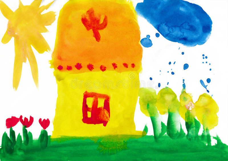 Home And Meadow. Child Drawing. Stock Photo