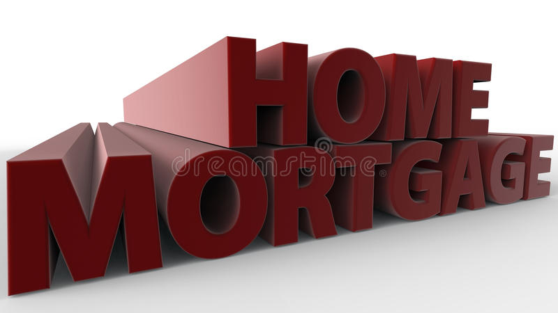 Home Mortgage. Text 3D rendered concept royalty free illustration