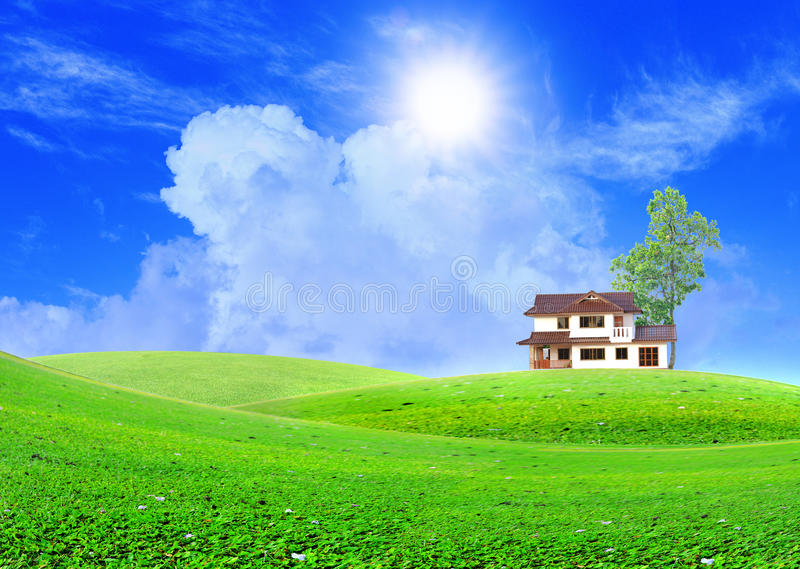 Home in the mountains. New family home in the mountains royalty free stock images
