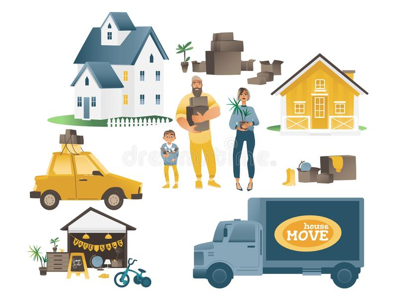Home moving set with family and people, houses and transport company. stock illustration