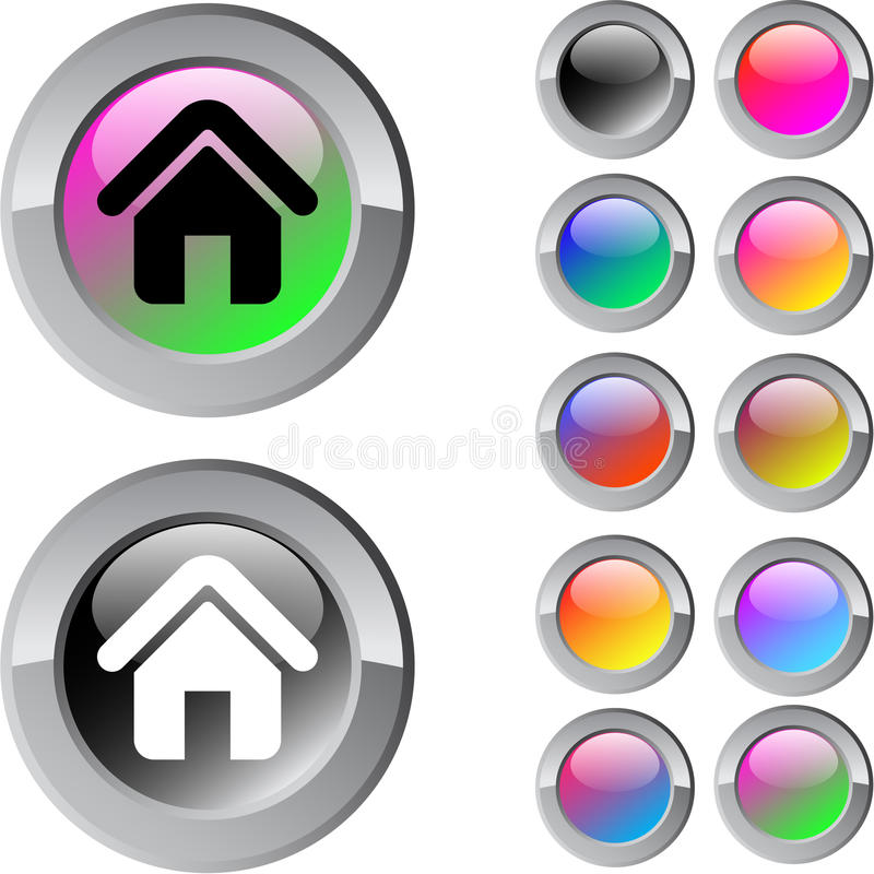 Download Home Multicolor Round Button. Stock Vector - Image: 15083409