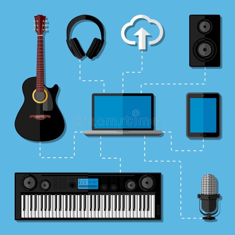 Home Music Studio Concept. Flat Design Stock Vector