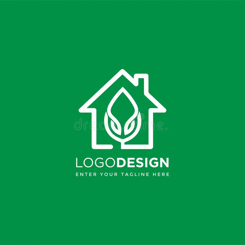 Home nature leaf logo design royalty free illustration