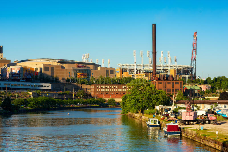 Home of NBA champs. CLEVELAND, OH - JUNE 17, 2016: Quicken Loans Arena (the Q) from the Cuyahoga River. The Q is the home of the NBA champion Cavaliers and will stock photo