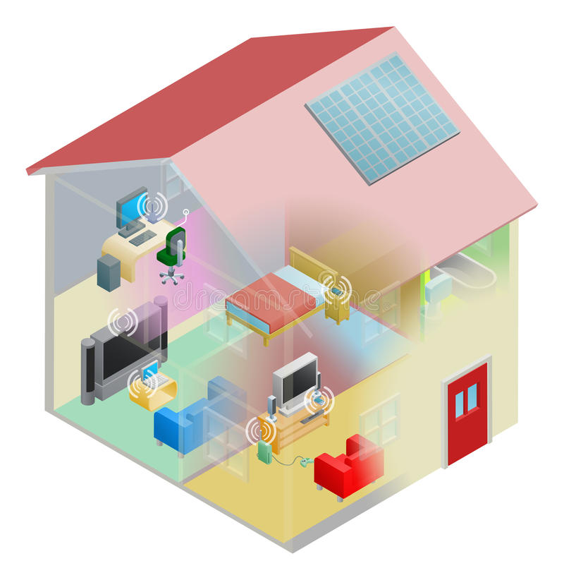 Home Network. A home internet network with wireless and computing devices connected in a home group local area network vector illustration