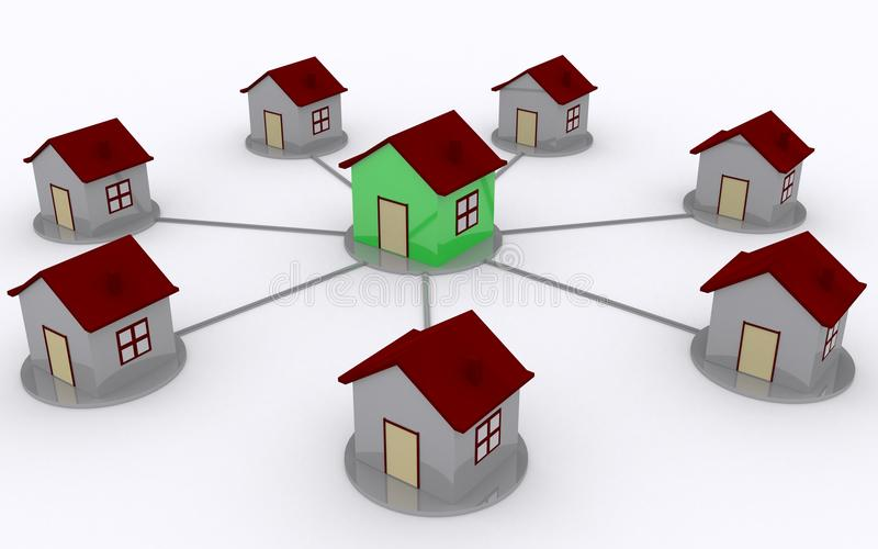 Home network. 3d green home even network stock illustration