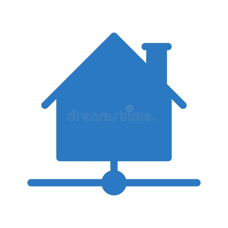 Home network glyph color flat vector icon stock illustration