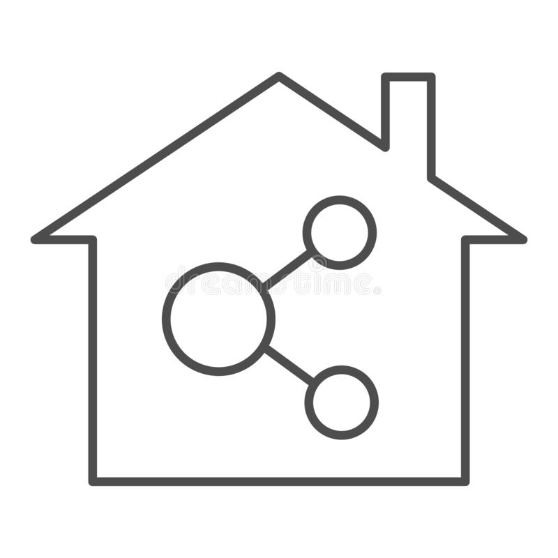 Free Home Network Thin Line Icon. Internet And House Vector Illustration Isolated On White. Network In Building Outline Style Royalty Free Stock Images - 160026389