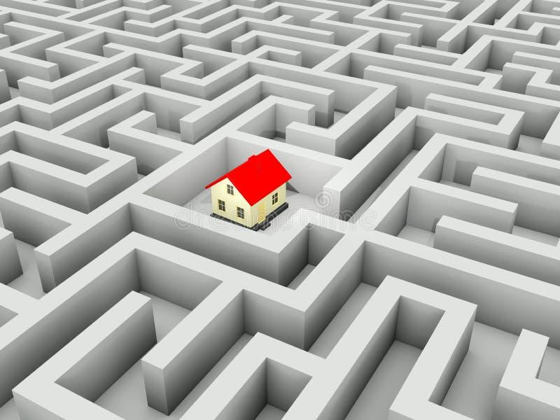 HOME no labirinto ilustração royalty free