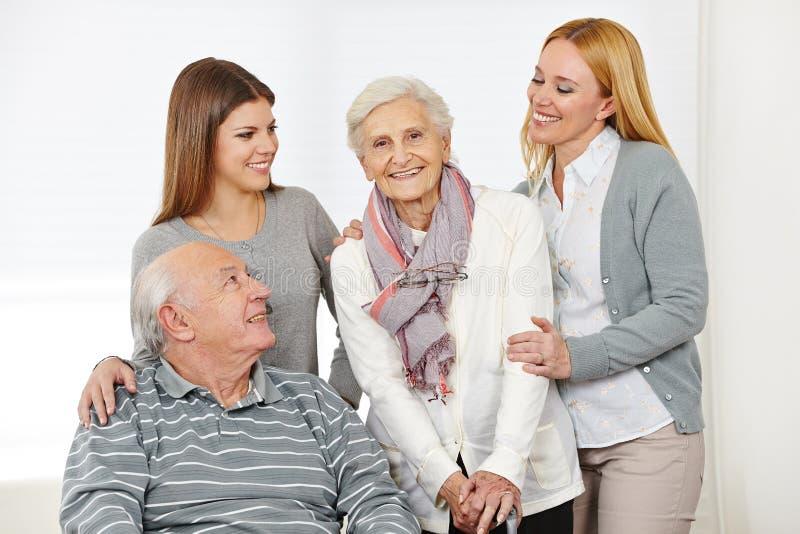 Home nursing for senior citizen stock image