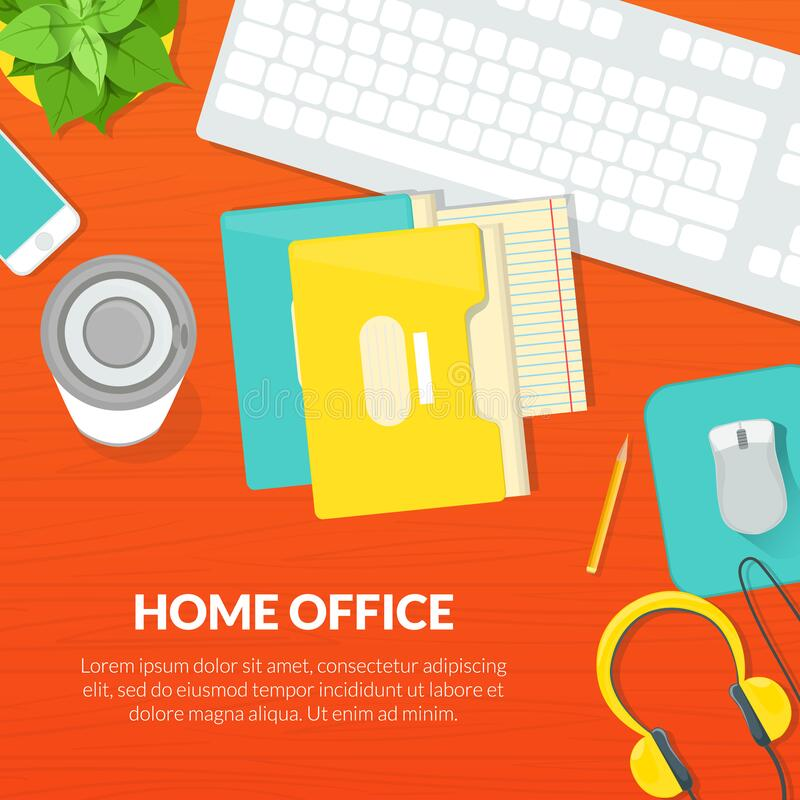 Home Office Banner Template, Top View Of Working Space