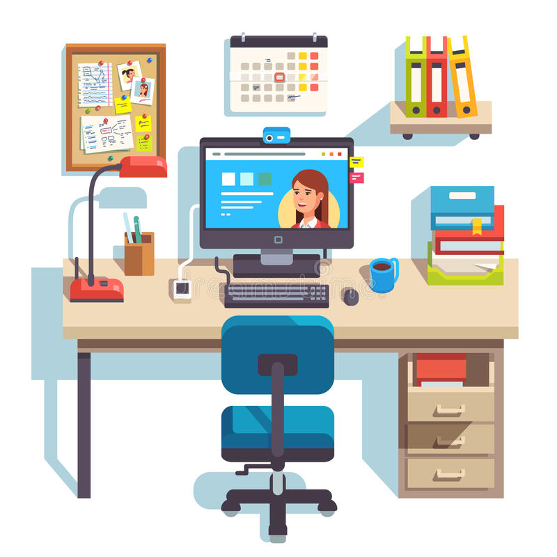 Home office with a computer. Comfortable chair and a pedestal drawer. Student work desk. Flat style modern vector illustration vector illustration