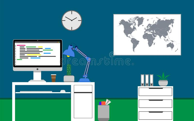 Home office concept. Java programming code on the monitor. Cactus on the desk. Vector illustration stock illustration