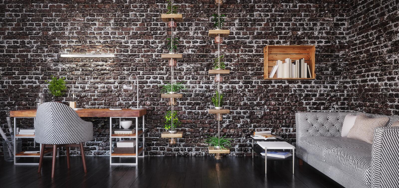 Home office design, modern workspace room. 3d render stock photo